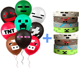PartyFuFu Mining Balloons and Wristbands - 36 Count Miner Balloons Kit In 9 Assorted Styles | Easy To Inflate, Sturdy Latex Party Decoration Set | Top Birthday, Gaming, Graduation Party Supplies | Great Gifting Idea Bonus Wrist Gear