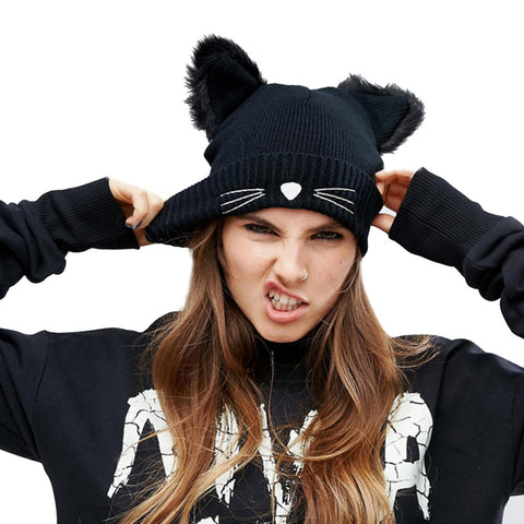 Cute Cat Hat For Women Knitted Cat Ears Beanie With Furry Pom Poms