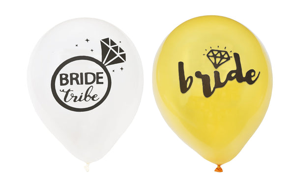 Gold and White Bride and Bride Tribe Balloons