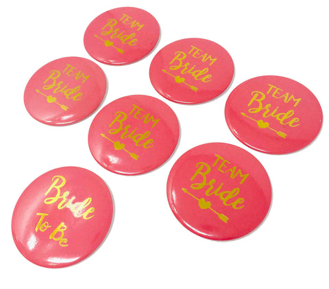 Details about  Team Bride Hot Pink Pins Bachelorette Party Favors Pin Buttons - 7 Pack