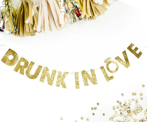 PartyFuFu Gold Sparkly Glitter Banner Drunk In Love Hanging Photo Prop