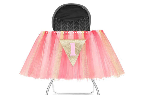 PartyFuFu 1st Birthday Tutu Skirt for High Chair Party Decorations for Your Baby Girl Special Day (Pink/Gold)