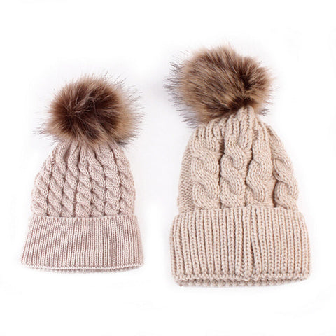 Mommy and Me Matching Knitted Fleece  Beanie Hats - CUTE POM POMS