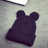 Cute Mouse Hat For Women Knitted Mouse Ears Beanie With Furry Pom Poms