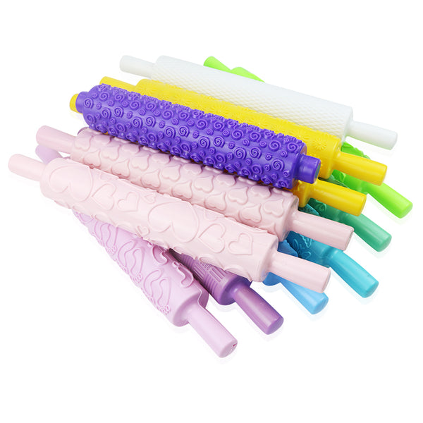 Embossed Shapes Plastic Fondant Rolling Pin