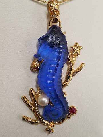 Blue Mirano Glass Seahorse Pendant - Gold Plated