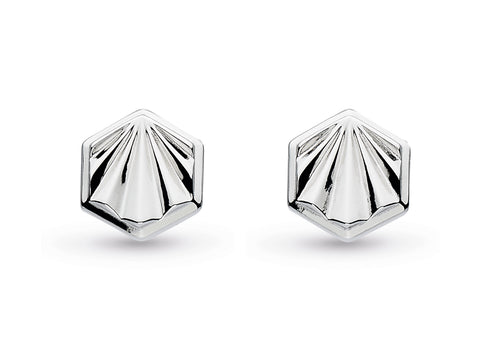 Empire Deco Hexagonal Stud Earrings