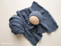 STEEL BLUE wrap- newborn size