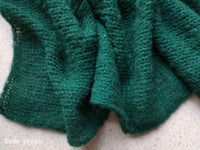 FOREST GREEN BRUSHED ALPACA SILK wrap- newborn size
