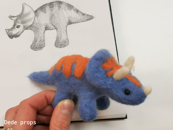 MOONLIGHT BLUE DINOSAUR - hand felted newborn prop