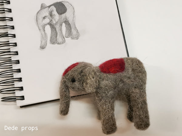 CIRCUS ELEPHANT - hand felted newborn prop