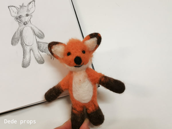 RUST FOX - hand felted newborn prop