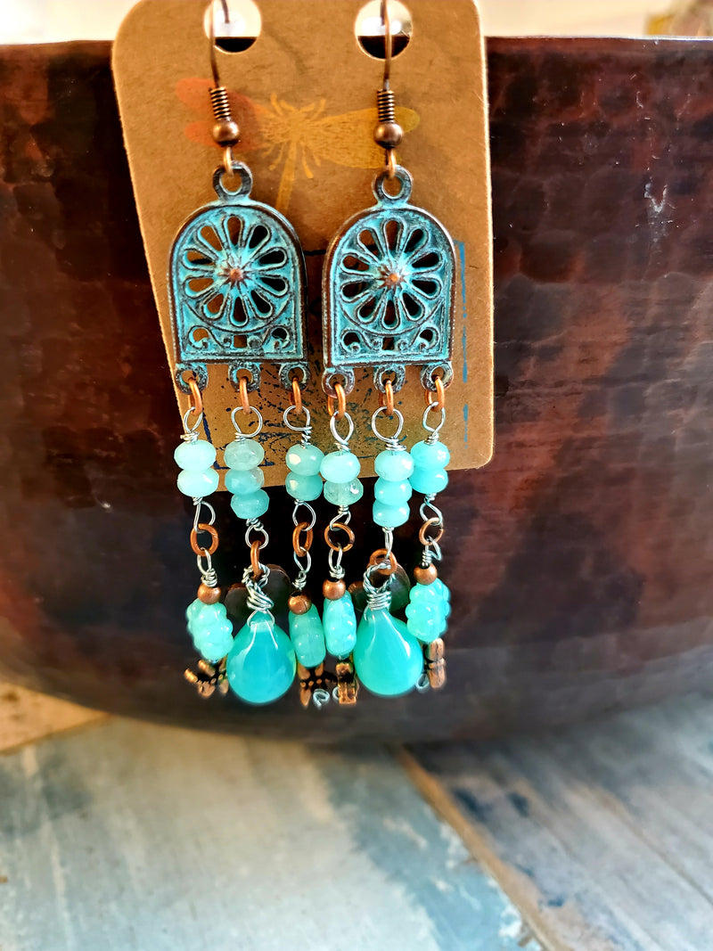Gorgeous Aqua Glass and Copper Earrings