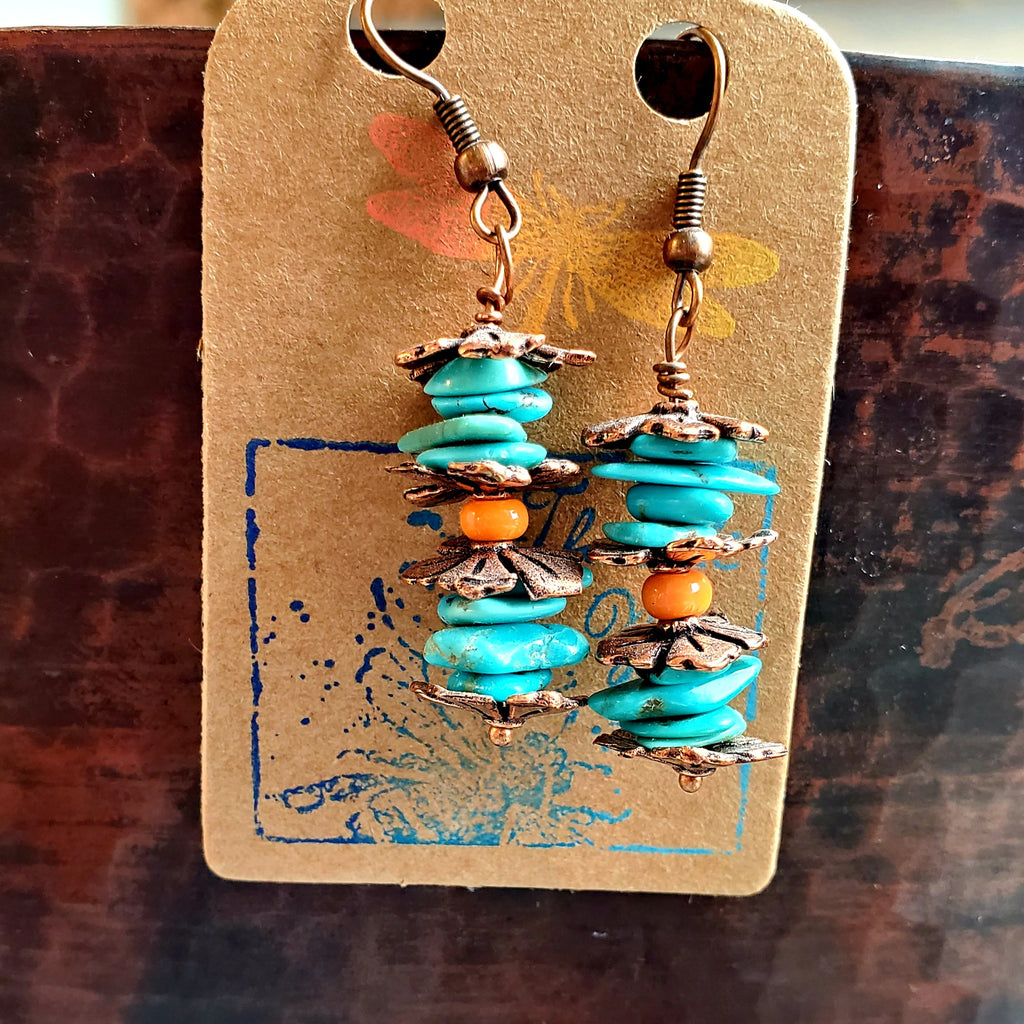 Boho Turquoise and Copper Earrings