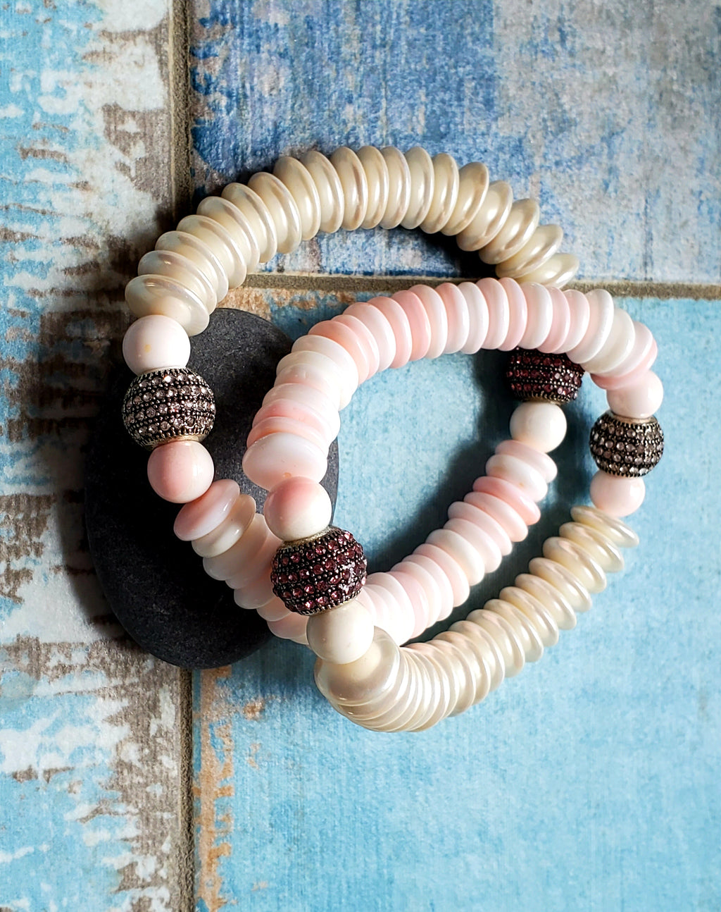 Conch and Pearl Stretch Bracelets