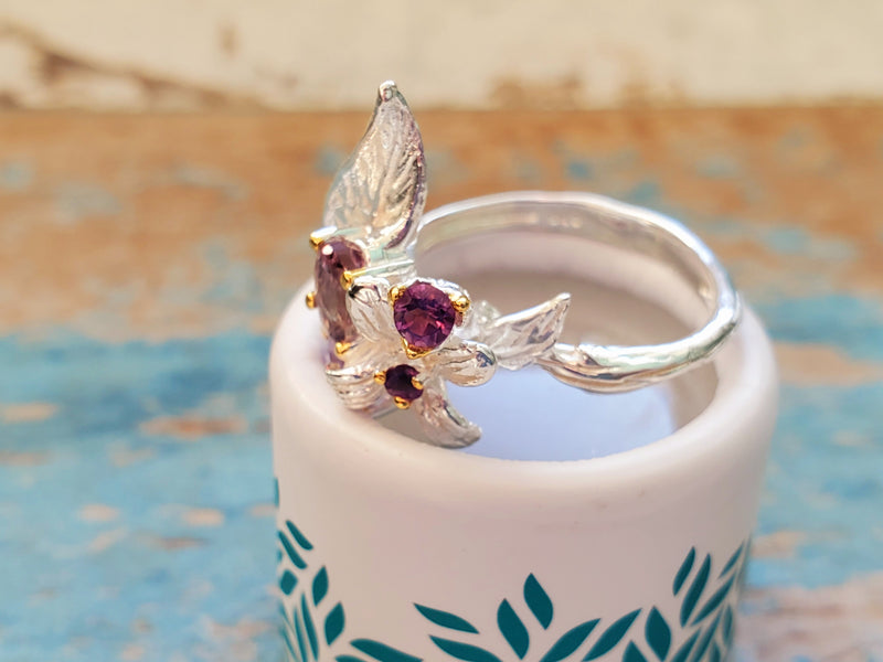 February Birthstone Gift, Fairy Leaf Ring