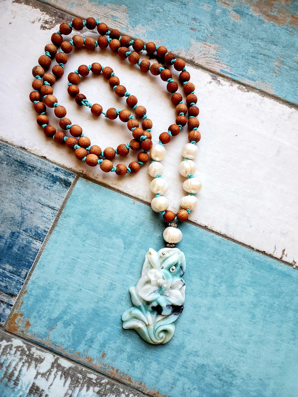 Carved Amazonite Boho Necklace, Long Bohemian Necklace for Her, Boho Sparkle