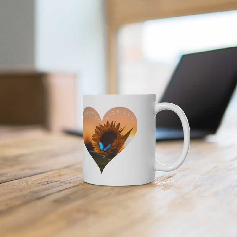 Bees and Butterfly Mug, Gift for Love, Ceramic Mug 11oz