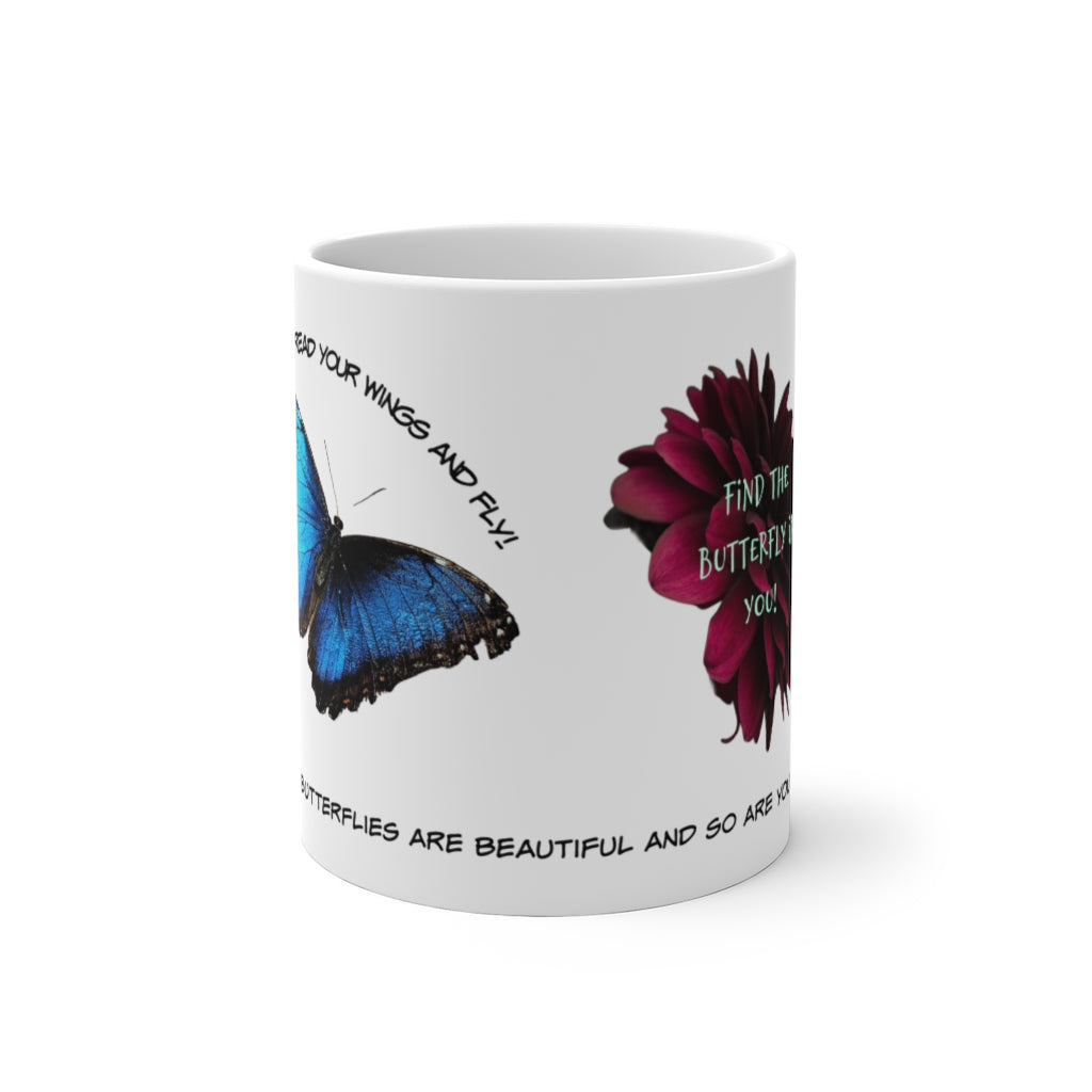 Butterfly Mug, Positive Morning, Gift for Your Love, Color Changing Mug