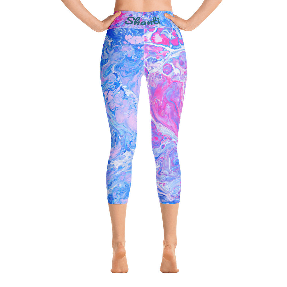 Yoga Pants, Shanti Yoga, Peace Yoga, Pink Yoga Pants, Blue Yoga Pants, Yoga Capri Leggings