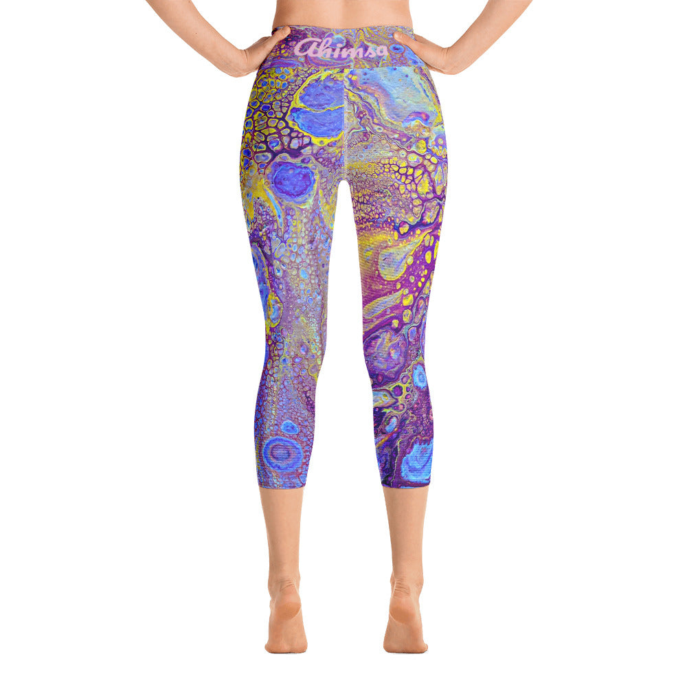 Ahimsa Yoga, Feel Good Yoga, Peace Yoga, Purple Yoga Pants, Designer Yoga, Yoga Capri Leggings