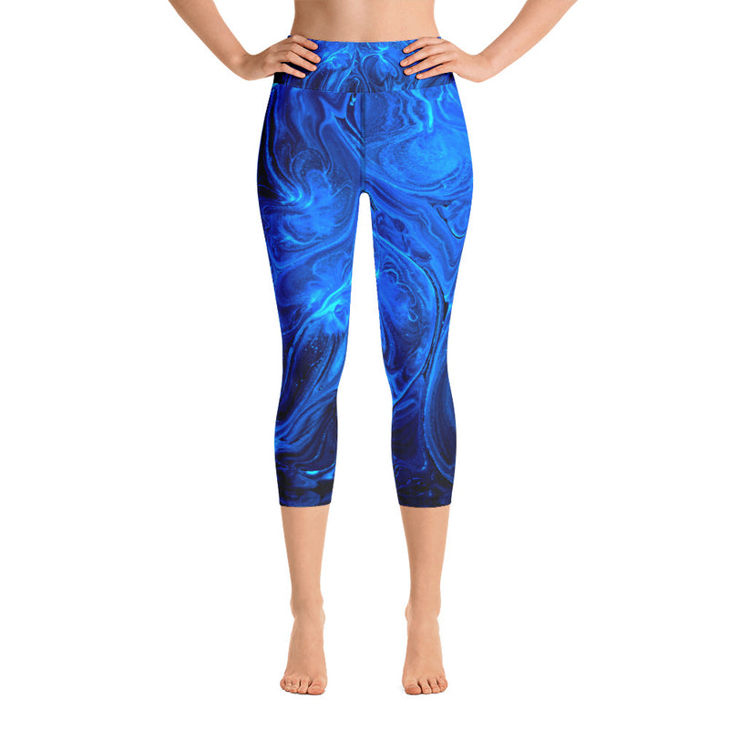 Yoga Leggings, Yoga Pants, Blue Yoga Pants, Unique Yoga, Yoga Capri Leggings