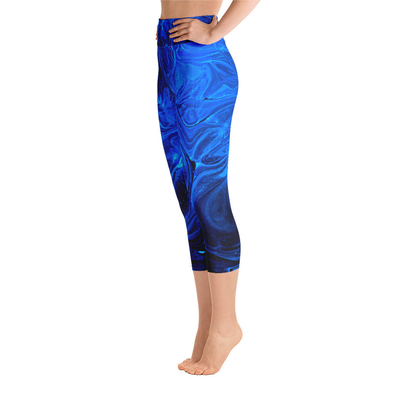 Namaste Yoga, Blue Yoga Pants, Blue Leggings, Abstract Yoga, Yoga Capri Leggings