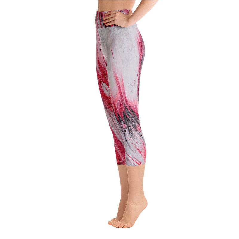Peaceful Yoga, Abstract Yoga, DhyanaYoga Capri Leggings, Yoga Pants, Designer Yoga