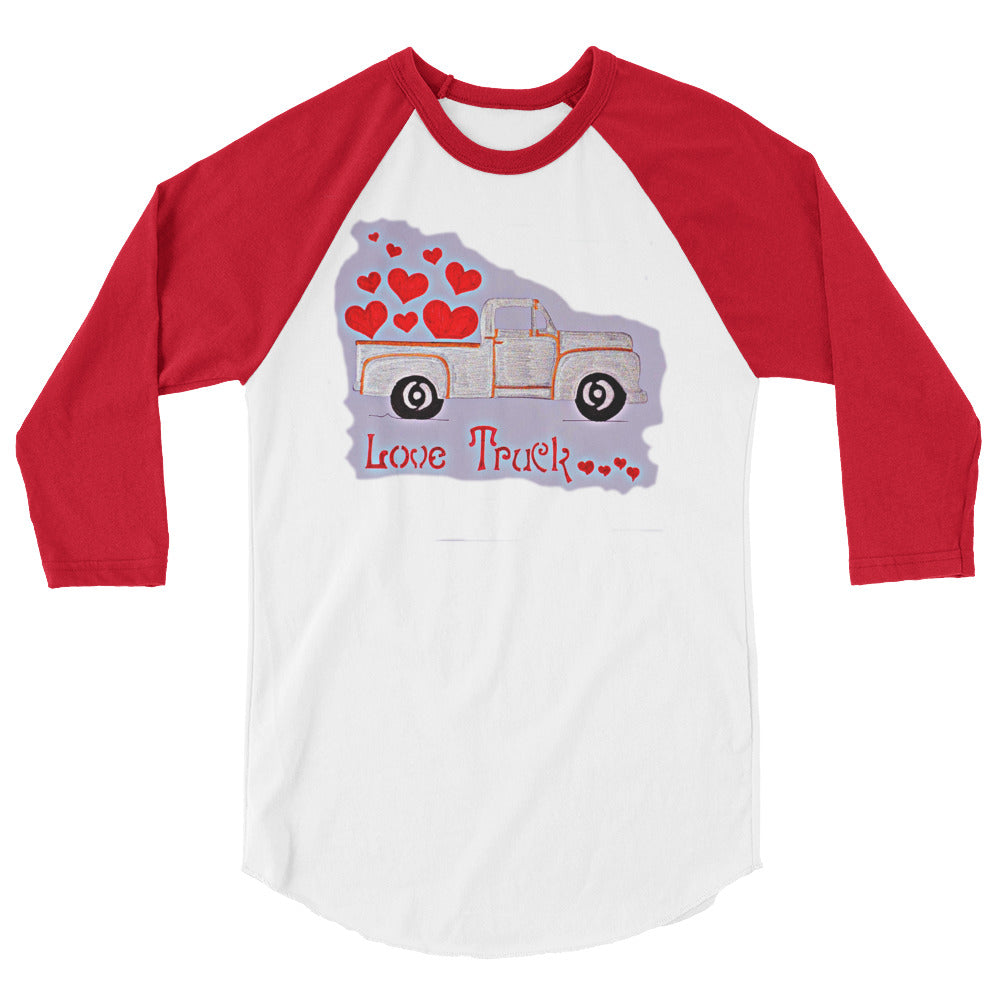 Truck Full of Love 80's 3/4 sleeve raglan t-shirt