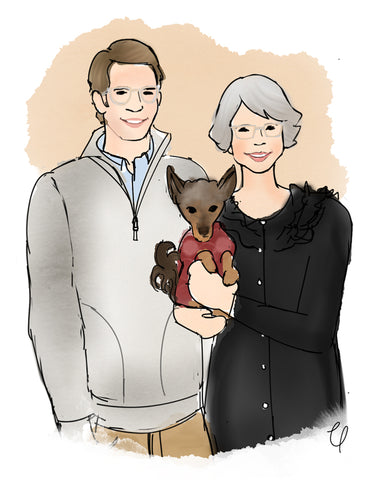 Family Illustration Christmas Gift by Chelsdrawsyou