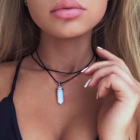 Double layer pendant oval choker necklace - shopazon central