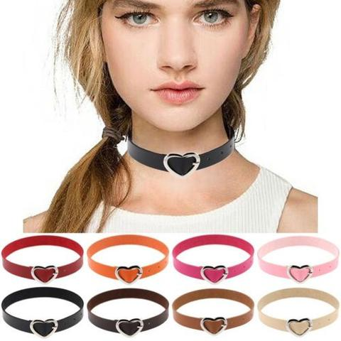 punk style leather heart buckle choker necklace - shopazon central