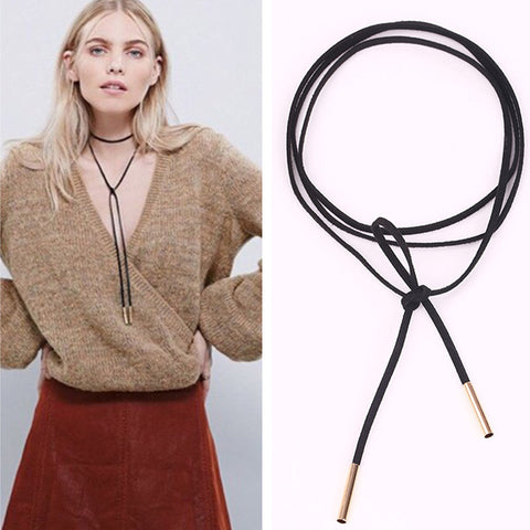 Black Suede Leather Choker Necklace - Shopazon Central