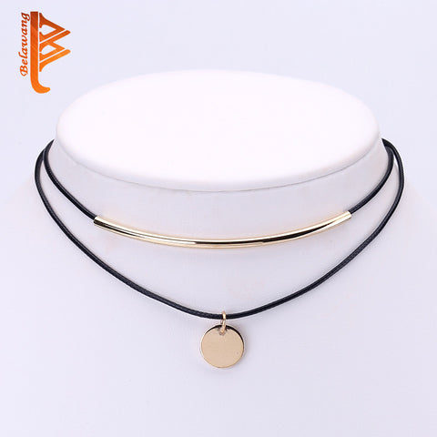 Gold Plated Coins Pendant Shell Choker Necklace - Shopazon Central