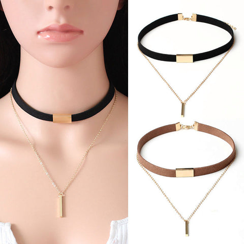 Chain Of Gold Pendant Choker Necklace - Shopazon Central