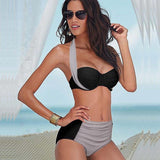 BANDEA High Waist Retro Halter Push Up Bikini 03230 - Shopazon Central