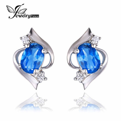 1.00ct Oval Cut Natural London Blue Topaz Earrings - Shopazon Central
