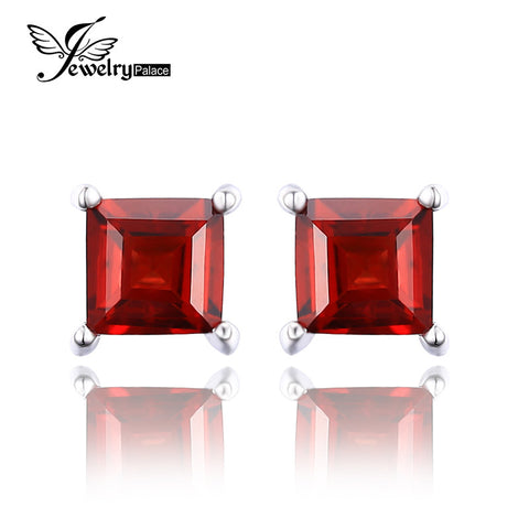 Square 0.8ct Red Ruby Earrings - Shopazon Central