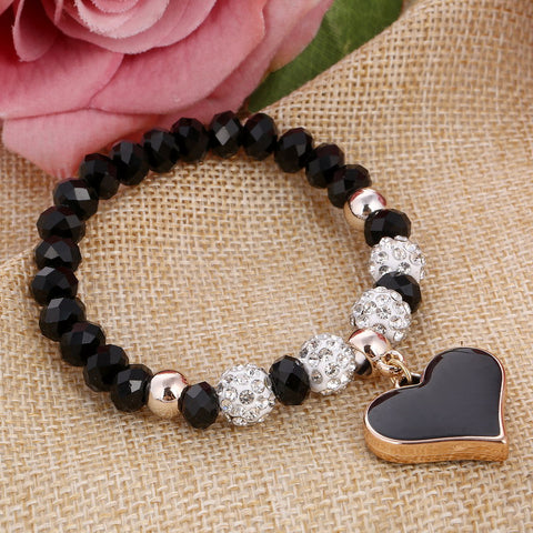 Crystal Elastic Heart  Beads Bracelet - Shopazon Central