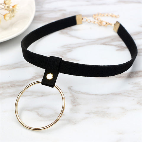 Punk Choker Round Circle Necklace for Women - Shopazon Central