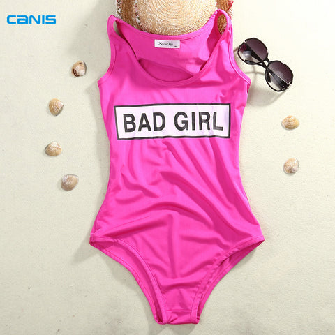 Solid Bad Girl One Piece Swim Bathing Suit - Shopazon Central