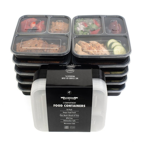 Set of 10 - 3 Compartment  Food Storage Containers with Lids, Microwave and Dishwasher Safe ON SALE!!!