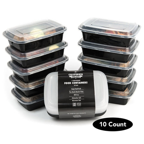 Set of 10 - 1 Compartment Reusable  Plastic Food Storage Containers with Lids,Food,  Microwave and Dishwasher Safe
