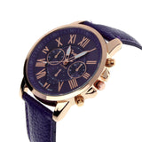Geneva Roman Numerals Leather Analog Quartz Watch - Shopazon Central