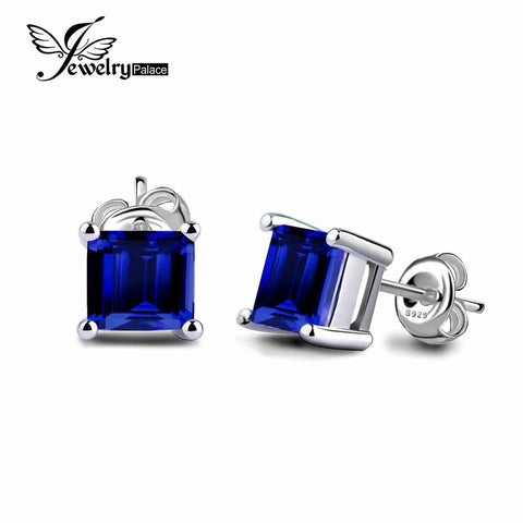 Square 0.8ct Blue Sapphire Earrings - Shopazon Central