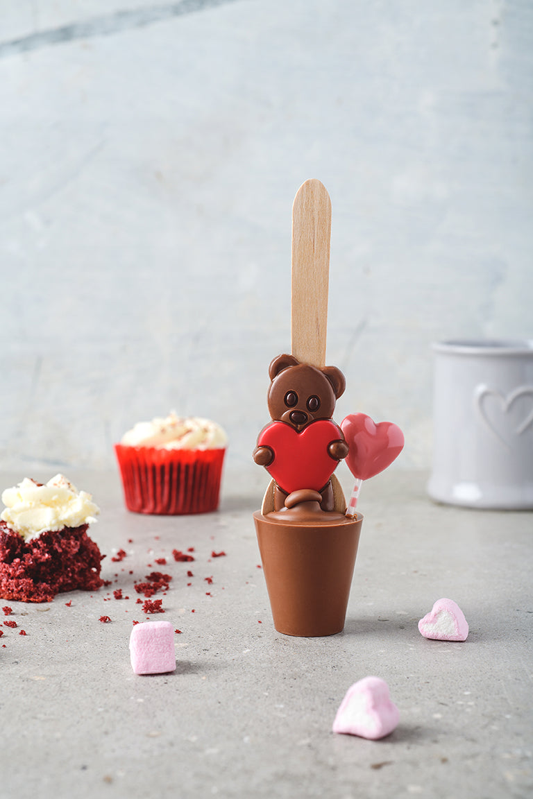 Red Velvet Love Potion Teddy Spoon - Red Heart