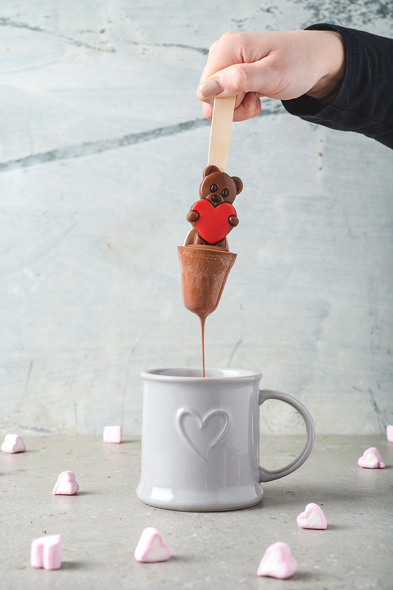 Teddy Hot Chocolate Spoon - Red Heart