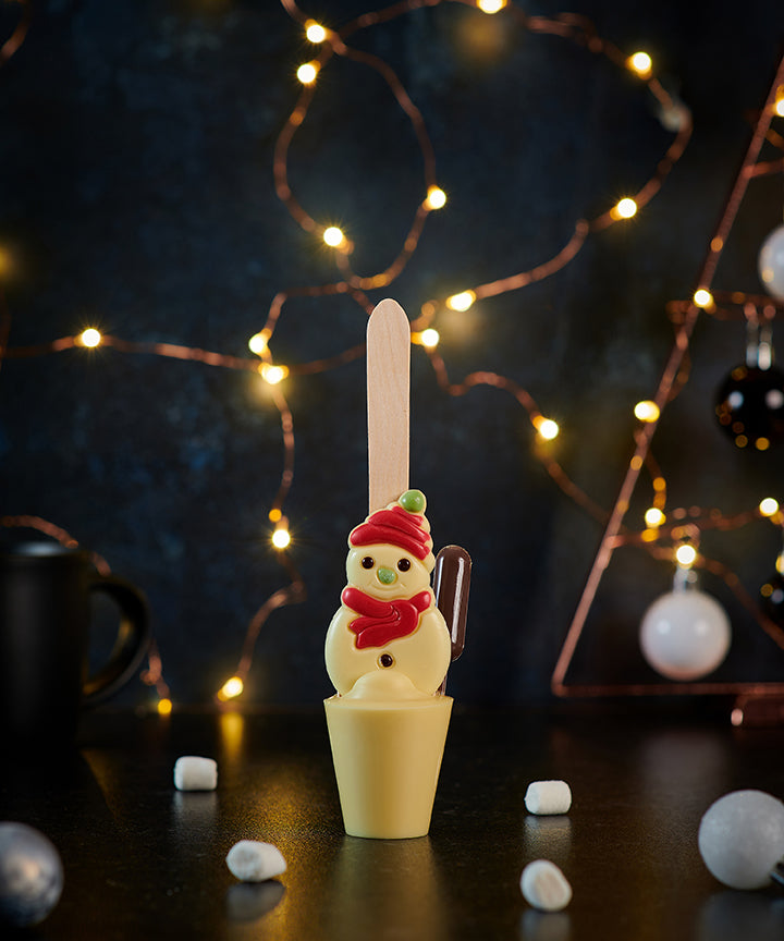 Chocolate Cream Tipsy Snowman Hot Chocolate Spoon