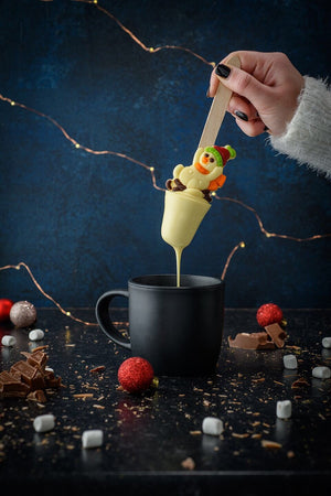 BOOZY white chocolate snowman hot chocolate spoon