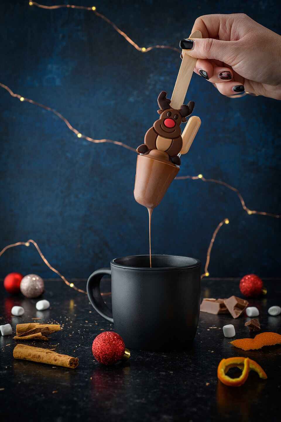 Orange and Cinnamon Tipsy Rudolph Hot Chocolate Spoon